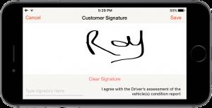 Car Hauler app digital signature