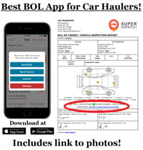 Super Dispatch BOL eBOL buying a trailer car hauler