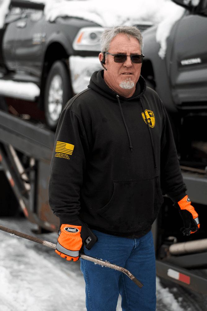 Tim and his truck, owner operator of JT Enterprises at Kansas City Manheim on Monday Jan 14. Super Dispatch