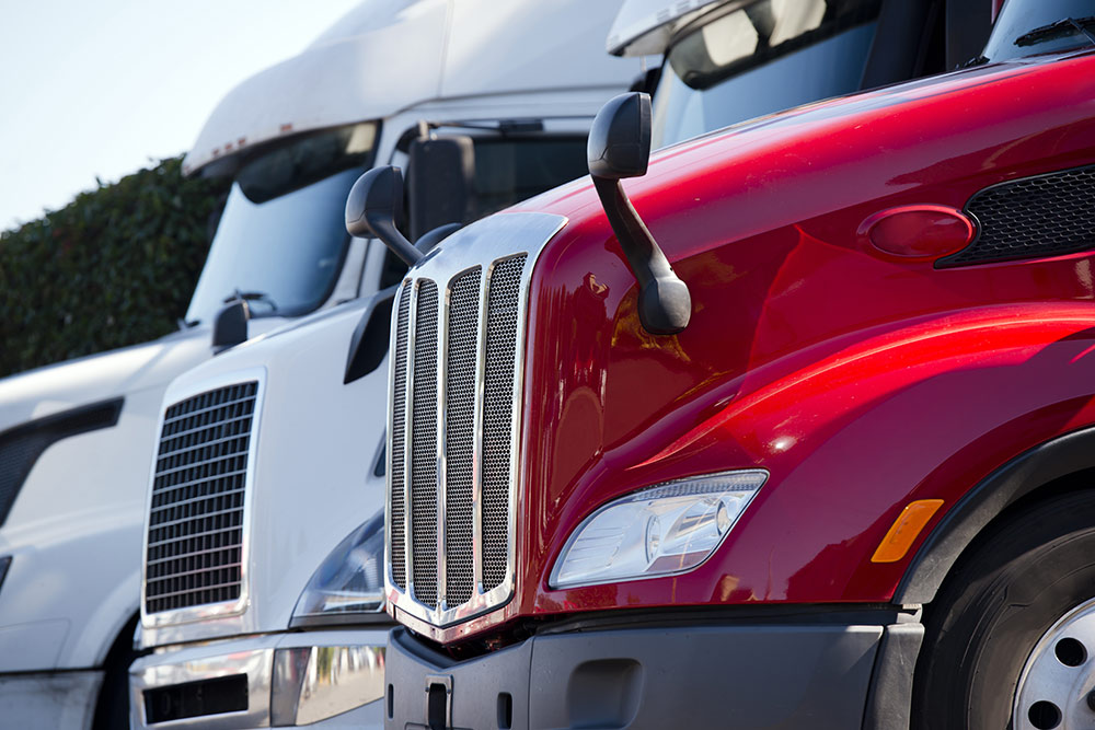 Close up of semi trucks